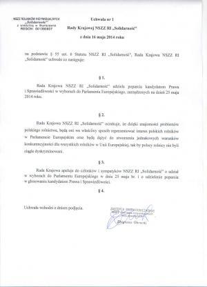 """Komunikat z Posiedzenia Rady Krajowej NSZZ RI """"Solidarność"""" w dniu 16 maja 2014 roku"""