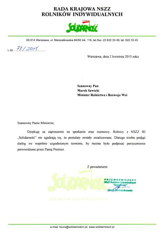 Odpowiedź Przewodniczącego NSZZ RI Solidarność Jerzego Chróścikowskiego na list Ministra Marka Sawickiego