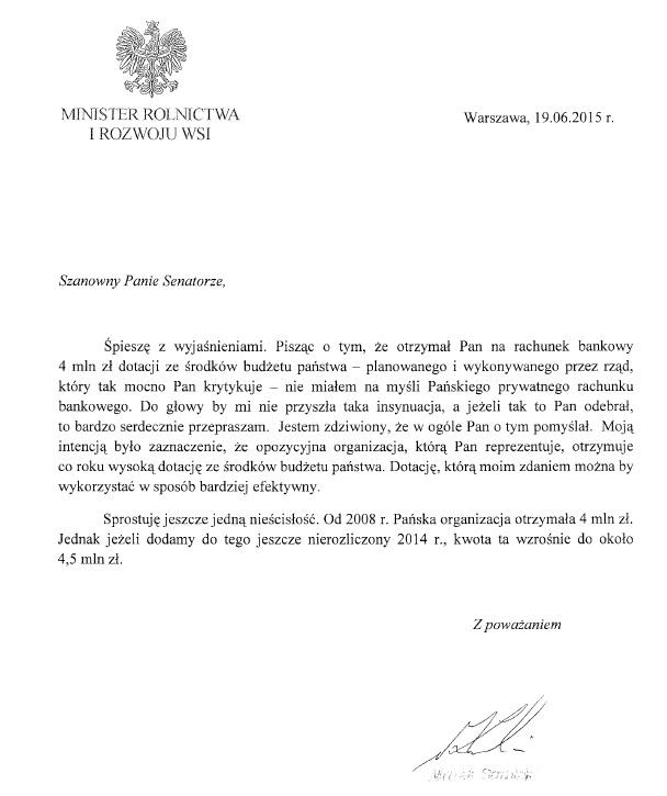 Przeprosiny ministra Marka Sawickiego