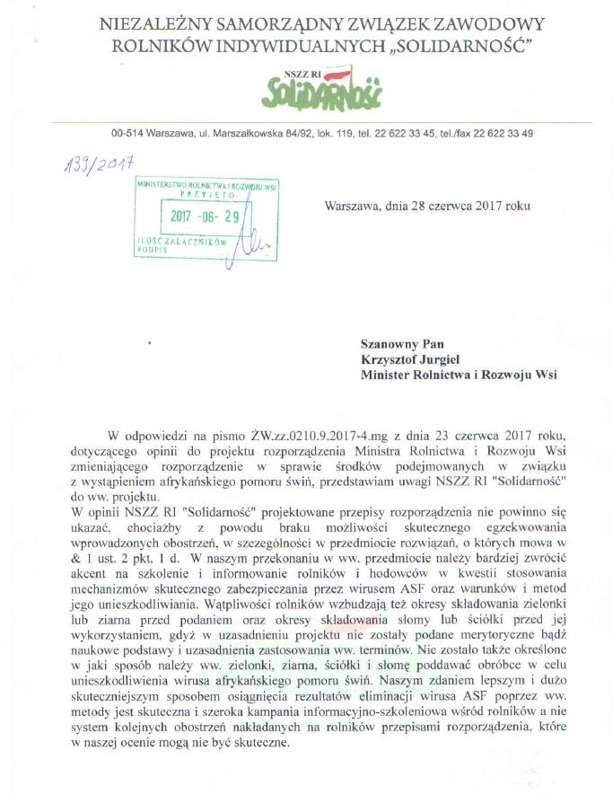 """Pismo NSZZ RI """"Solidarność"""" dotyczące nowych środków podejmowanych w związku z wystąpieniem afrykańskiego pomoru świń"""